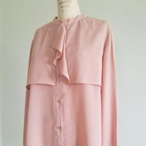 Anne klein button down blush pink top